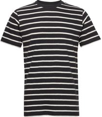 the organic multistriped tee t-shirts short-sleeved svart by garment makers