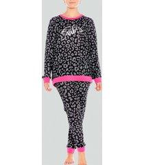 pijama jersey animal print negro baziani