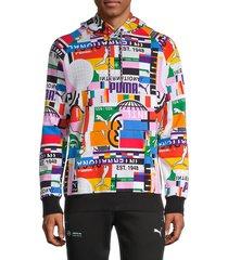 puma men's international logo hoodie - size l