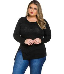 blusa alenice tricot plus size manga longa feminina - feminino