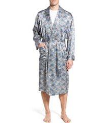 men's majestic international cypress silk paisley robe, size large/x-large - blue