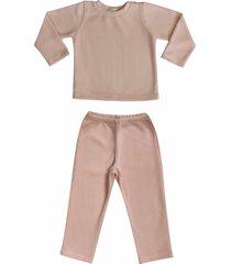 conjunto de pijama em soft grosso douvelin rosa - rosa - menina - poliã©ster - dafiti