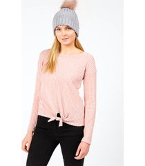 darice ribbed front tie top - rose