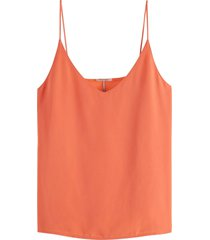 maison scotch jersey tanktop with woven front pan salmon