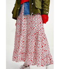 tommy hilfiger women's printed tiered midi skirt camo floral print - l