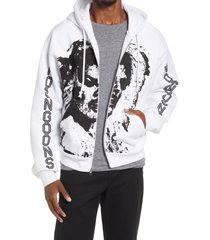 noon goons face zip-up cotton graphic hoodie, size medium in white at nordstrom