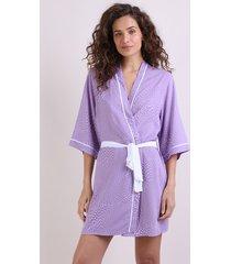 robe feminino estampado de poá manga 3/4 lilás