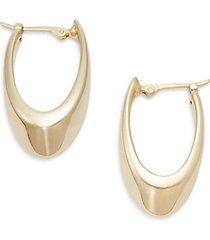 "14k yellow gold medium visor hoop earrings/1.25"""