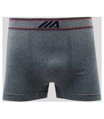 cueca boxer masculina sem costura ace em microfibra cinza mescla escuro