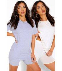 2 monochroom t-shirt & fietsbroekje setjes, multi
