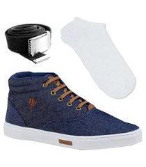 tênis sapatenis sapato botinha polo joy kit e meia branca e cinto gorgorão