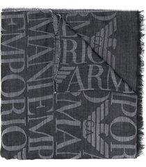 emporio armani lightweight logo knit scarf - black