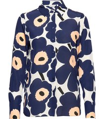gabro pieni unikko shirt blouse lange mouwen blauw marimekko