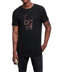 men's john varvatos artisanal skull linen blend graphic tee, size x-large - black