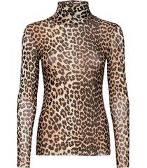 printed mesh blouse lange mouwen multi/patroon ganni