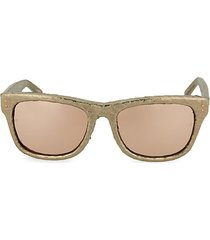 52mm leather-detailed novelty square sunglasses