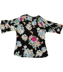 blusa chiffon flores bolero - 81111209