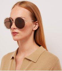 chloé women's carlina round frame sunglasses - gold/brown