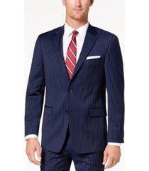 tommy hilfiger men's modern-fit th flex stretch navy pinstripe suit jacket