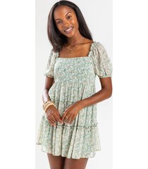 blakely tiered babydoll mini dress - sage