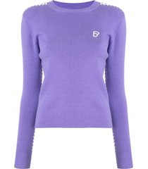 bapy by *a bathing ape® long sleeve ribbed knit sweater - purple