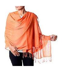 wool blend shawl, 'orange diamond fantasy' (india)