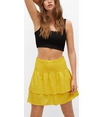 mango women's ruffled linen-blend skirt