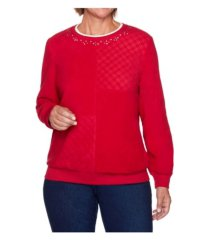 alfred dunner women's solid anti-pill sweatshirt