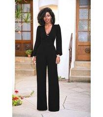 monos elegantes de otoño de moda mujeres de pierna -negro