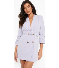 geweven getailleerde blazer jurk met ceintuur, lilac