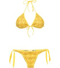 amir slama textured triangle top bikini set - yellow
