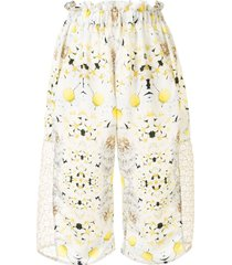 tata christiane floral-print loose-fit shorts - white