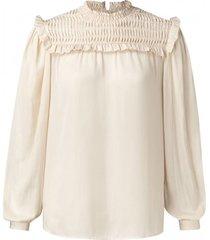 blouse smocked gebroken wit