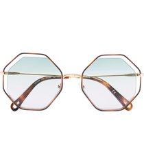 chloé eyewear poppy octagonal-frame sunglasses - brown