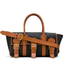 acne studios x mulberry buckle bayswater scotchgrain tote bag - black