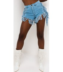 akira feel it all fringe denim shorts
