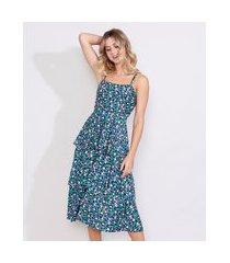 vestido feminino midi com camadas estampado floral alça fina decote reto multicor
