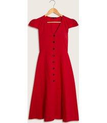 vestido cierre de botones rojo 4