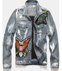 giacca in denim multi-badge con retro monopetto strappato e retro