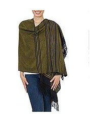 zapotec cotton rebozo shawl, 'sun and shadow' (mexico)