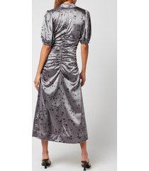 ganni women's silk stretch satin dress - sharkskin - eu 40/uk 12