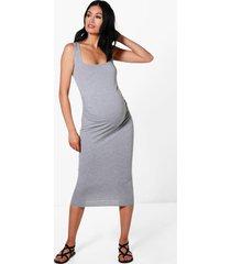 zwangerschap bodycon jurk, grijs