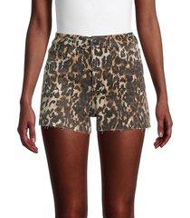joe's jeans women's high-rise leopard-print denim shorts - vintage leopard - size 29 (6-8)