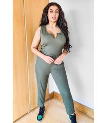 plus ribbed v neck tie waist jumpsuit, khaki