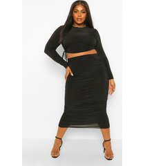 plus strakke geplooide top en midi rok set, black