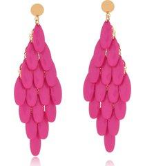brinco le diamond cortina acrãlico lapidado rosa - rosa - feminino - dafiti