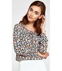 bluzka z marszczonym dekoltem we wzór