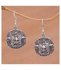 sterling silver dangle earrings, 'balinese guardian' (indonesia)