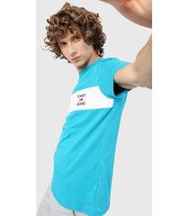 camiseta azul turquesa-blanco   tommy jeans