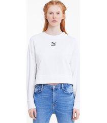 classics cropped damessweater, wit, maat s | puma